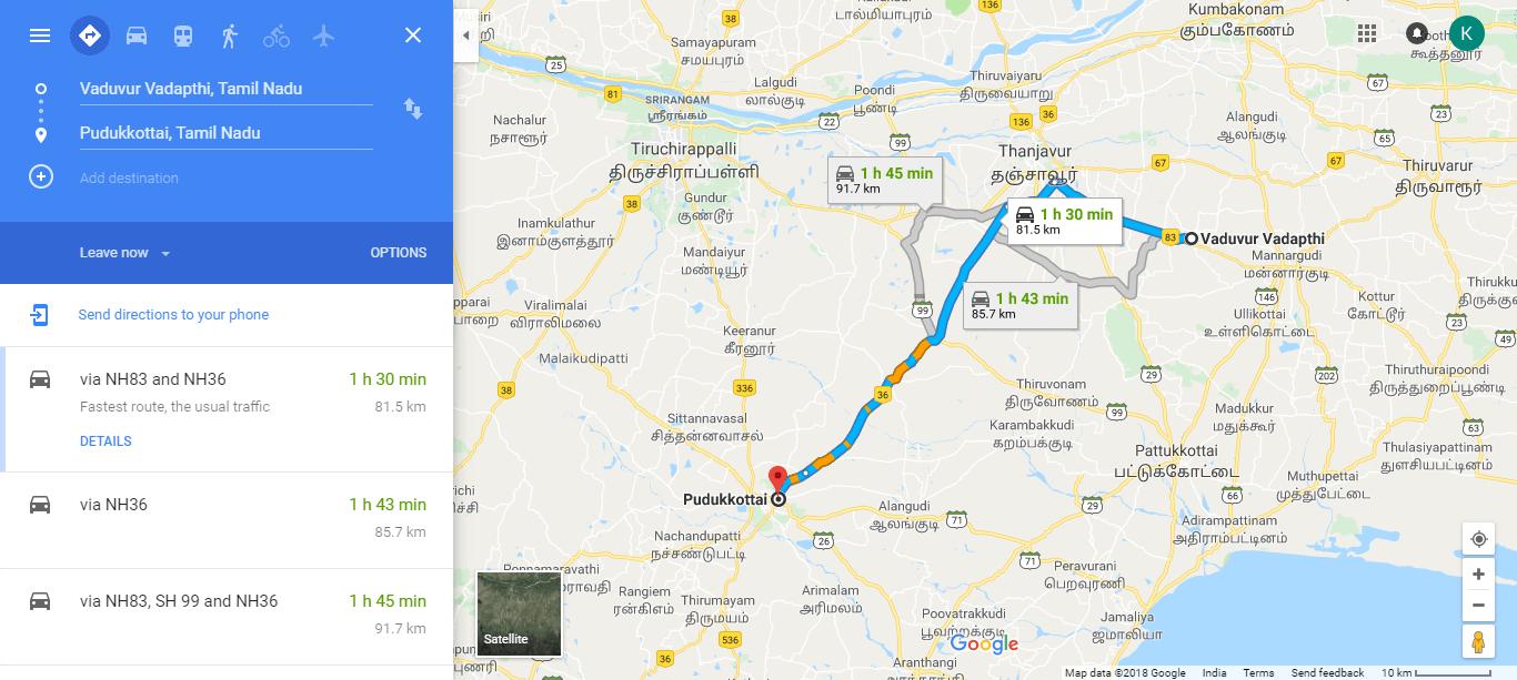 Vaduvur Pudukkottai Map
